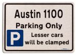 Austin 1100 Car Owners Gift| New Parking only Sign | Metal face Brushed Aluminium Austin 1100 Model